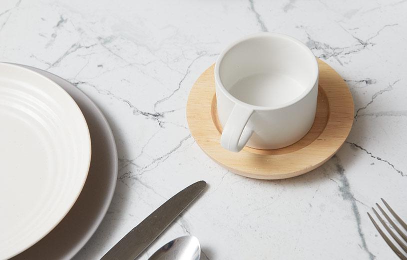 The Mia Mug & Wood Saucer Set